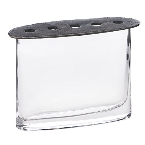 [Skalny Clear Oval Glass Vase with Cast Iron Lid, 8