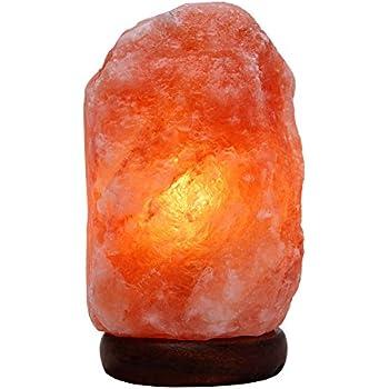 Himalayan Salt Lamp with Wood Base & Dimmer Cord & Light Bulbs,7-9 inch,4.5-6.6 lbs