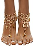 Bienvenu Women's Multi Chain Tassels Anklet Leaves Chain Beach Wedding Foot Jewelry,Copper
