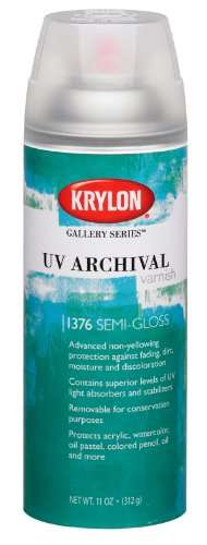 Krylon K01376000 Gallery Series UV Archival Varnish Aerosol Spray, Semi-Gloss, 11 Ounce