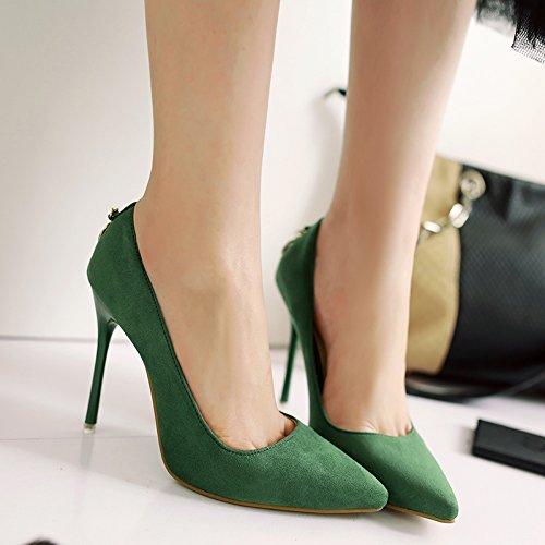 zapatos temperamento delgada verde video zapatos con de satinado ultra bien superficial boca 10 punta 37 Color sólido cm de solo con carrera alta vwOBUg