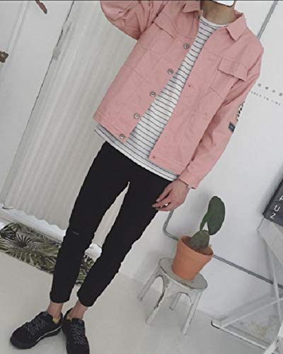 MogogoMen Long Pink Sleeve Jackets Cotton Back Loose Printed Fit Letter qOqwUZpWHr
