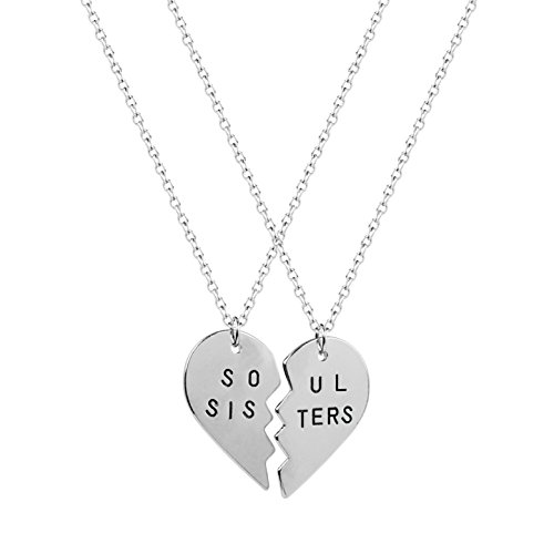 Lux Accessories Best Friends BFF Forever Soul Sisters Valentine Heart Necklaces. (2 PC)