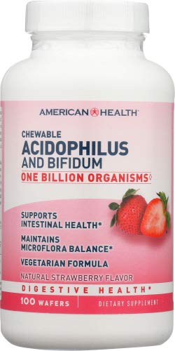 American Health Acidophilus, Strawberry, Chewable 100 Tablets 100.0 TB (Pack of 12)