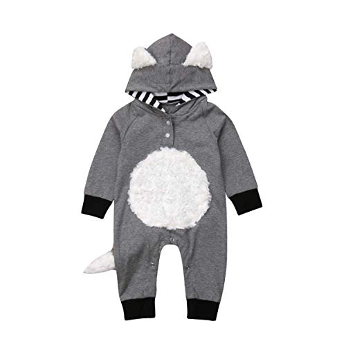 Newborn Baby Girl Boy Halloween Cosplay Cartoon Clothes Fox Coat Fur Bodysuit Jumpsuit Hooded Playsuit Romper Overall Outfit (Grey, 6-12 Months) -