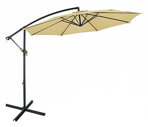 Cheap Patio Watcher 10 Ft Cantilever Aluminum Umbrella with Crank, Heavy Offset Pool Umbrella,UV Resistant,250 GSM Fabric, Air Vented Top, Beige