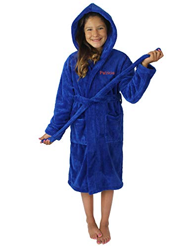 Kids Plush and Soft Fleece Hooded Bathrobe for Girls and Boys (Royal Blue, ()