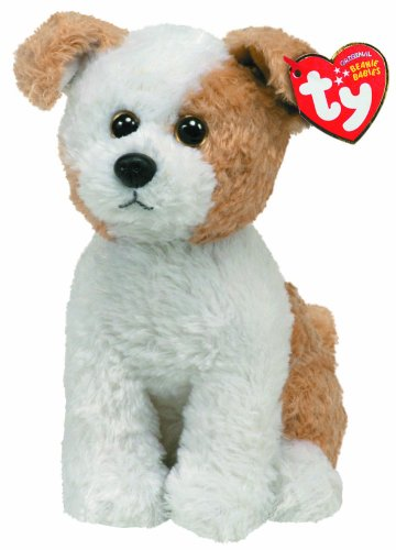 Ty Beanie Baby Corky Tan/White Dog