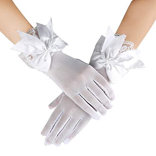(JISEN Women Party Bow Lace Elegant with Wrist Ruffle Bridal Wedding Gloves 11 Inch White)