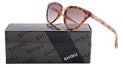 SHINU Classic Cat Eye Sunglasses Women Flash Mirror Lens sunglasses-SH013(pink, green)