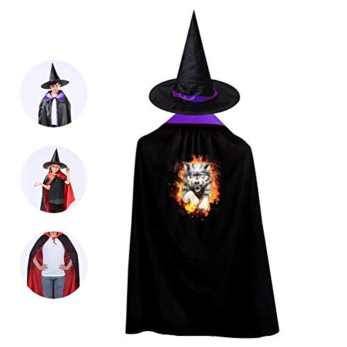Kids Fire Wolf Art Halloween Costume Cloak for Children Girls Boys Cloak and Witch Wizard Hat for Boys Girls Purple