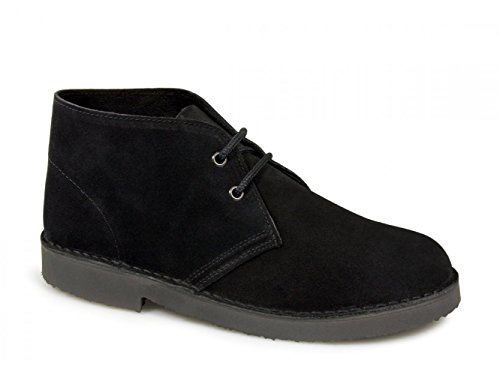 Roamers ORIGINAL Unisex Suede Leather Desert Boots Black UK 14
