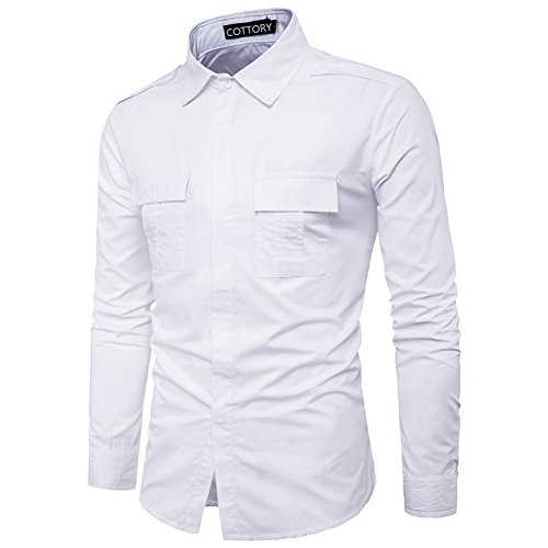 Cottory Men's Fashion Pure Color Double Breast Pocket Button Down Shirts White Large