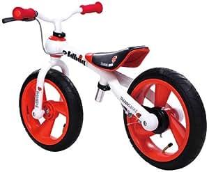 JD Bug - Bicicleta infantil sin pedales, con freno, color blanco y rojo