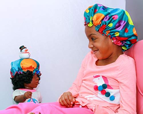 Luxe Silk Reversible Sleep Cap Satin Bonnet with Matching Doll Bonnet   Pretty Prints (Dreamy ()