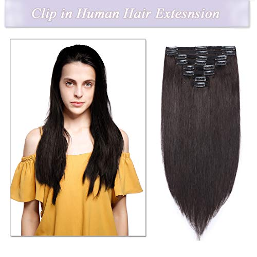s-noilite Clip in Human Hair Extensions 100% Real Remy Thick True Double Weft Full Head 8 Pieces 18 clips Straight silky (14 inch - 120g,Natural Black (#1B))