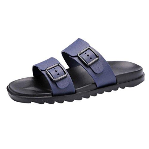 HLHN Men Slippers,Buckle Anti-Skidding Flat Heel Sandals Open-Toe Shoes Beach Fashion Casual Summer Blue
