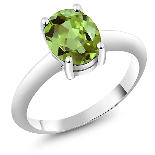 Gem Stone King Sterling Silver Oval Peridot Women's Solitaire Gemstone Birthstone Ring 1.80 cttw, Oval 9x7mm (Size 9)