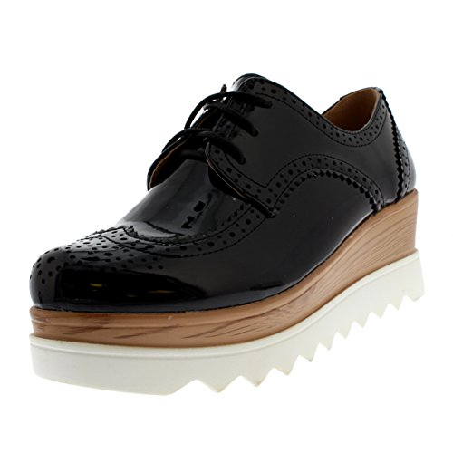 Womens Oxfords Fashion Brogue Chic Cleated Sole Pumps Wedge Heel Shoes - Black Patent/White - US8/EU39 - KL0144 (Patent Brogue)