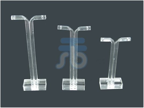 Clear Acrylic Jewelry Display T Stand for Stud, Dangle, Hoop Earrings, Pack of 3 (Square Base) (Display Acrylic Earring Stand)