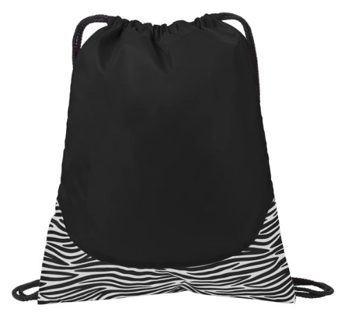 Port Authority Patterned Drawcord Cinch Pack_Zebra Blk/Wht_One Size