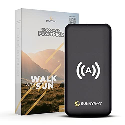 Sunnybag POWERPACK | Externe batterij met 10.000 mAh | Perfect om op te laden met hernieuwbare zonne-energie | Draadloos…