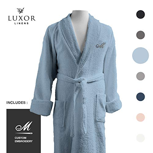 Personalized Terry Cloth Spa Robe - Luxor Linens - Terry Cloth Bathrobe in a Variety of Colors - 100% Egyptian Cotton - Luxurious, Soft, Plush Durable Robe - Light Blue