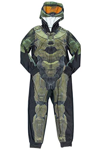 Halo Big Boys' Costume Pajama, Zip up Hoodie, Green/Black, 12 for $<!--$18.45-->