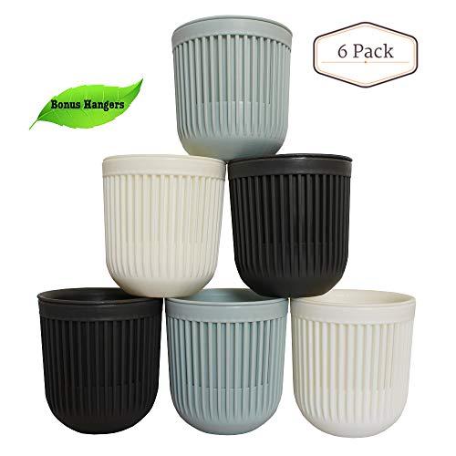 Plastic Nursery Flower Pots, Small Succulent Hanging Planter & Self-Watering Set of 6. Indoor&Outdoor Cute Mini Pastel Cactus Herb Container (Pots For Sale Indoor Flower)