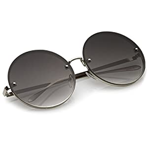 zeroUV - Oversize Rimless Slim Metal Temple Neutral Colored Flat Lens Round Sunglasses 65mm