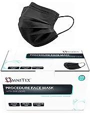 Omnitex Type IIR Zwarte wegwerp medische mondkapjes met oorlussen | EN14683:2019 | 98% filtratie, vloeistofbestendig chirurgisch mondmaskers 2R - 3 laags masker - 50 stuks Premium quality Made in the EU