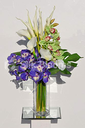 Silk Blooms Ltd 人工フレッシュタッチ 紫 バンダとシンビジウム オーキッド アレンジメント Calla and Goddess Lilies B07H8FXS98