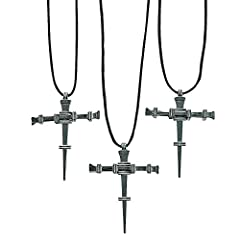 "Pewtertone Metal Nail Cross Necklaces. Each 2"" cross is on a 24"" black nylon cord with a breakaway clasp. Our children's necklace items contain breakaway features, attachments or materials required by the Consumer Product Safety Commission's ..."