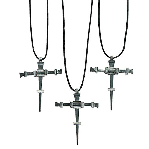 (Fun Express - Nail Cross Necklaces - Jewelry - Necklaces - Cross Necklaces - 12 Pieces)