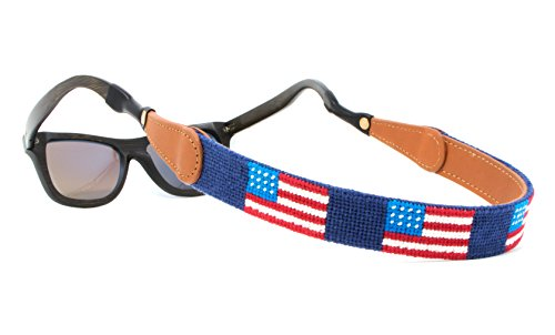 Needlepoint Sunglass Strap Sunglass Retainer by Huck Venture (American Flag) by Huck Venture