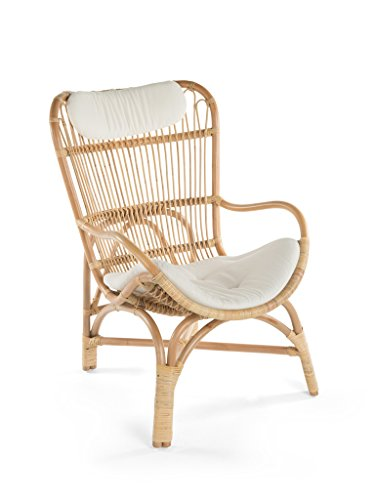 (Kouboo 1110018 Rattan Loop Lounge Chair with Seat and Head Cushion, Natural Color, Large,)