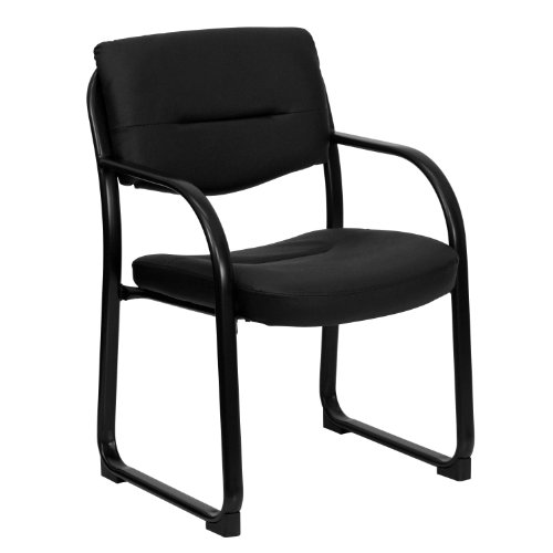- Black Leather Executive Side Reception Chair with Sled Base