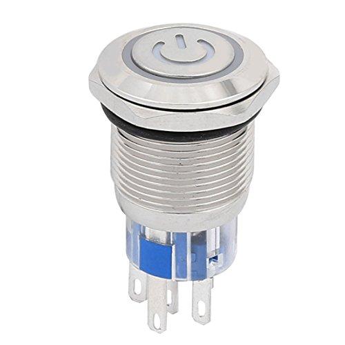 uxcell 押しボタンスイッチ スイッチ DC24V スレッド直径19mm 5P ブルー LED
