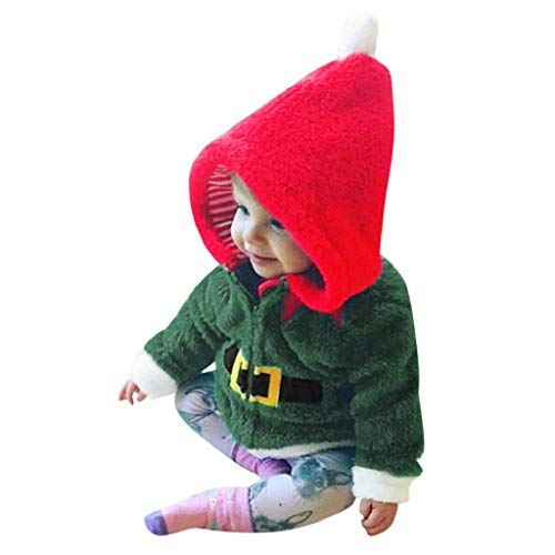 Fleece T-shirt Bib - REYO Christmas Toddler Baby Boy Girl Warm Winter Jacket T-Shirt Fleece Hooded Tops Coat Pullover Kids Outfits