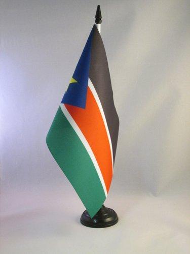 AZ FLAG South Sudan Table Flag 5'' x 8'' - South Sudanese Desk Flag 21 x 14 cm - Black Plastic Stick and Base