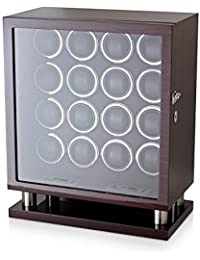 Watch Winder for 16 Automatic Watches with LED Backlight and LCD Touchscreen Control (Ebony + Black)