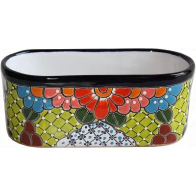 Fine Crafts Imports Cuna Mexican Colors Talavera Ceramic Garden Pot : Garden & Outdoor