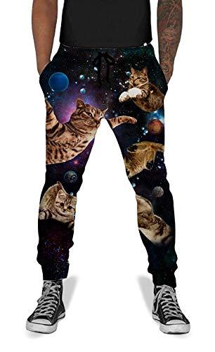 UNIFACO Men Women Causal Funny Space Cat Active Jogging Pants Baggy Elastic Sweatpants L