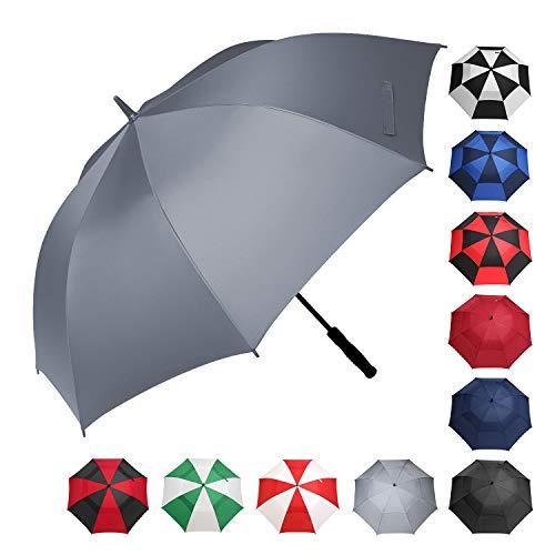 BAGAIL Golf Umbrella 68/62/58 Inch Large Oversize Windproof Waterproof Automatic Open Stick Umbrellas for Men and Women (Single Canopy-Grey, 58 inch) - Golf Umbrella Lightweight Fiberglass