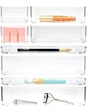 STYLIO Stackable Clear Acrylic Drawer Organizers. Bathroom Organization, Makeup Organizer, Desk Organizer Set. 8 Piece Vanity & Accessories Storage. Small & Large Plastic Containers for All Drawers