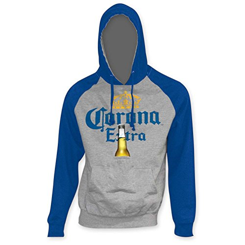 Corona Extra Blue Sleeve Beer Pouch Hoodie Large Gray (Beer Pouch Hoodie)