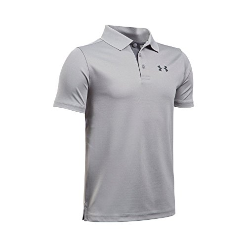 Under Armour Boys' Performance Polo, True Gray Heather /Rhino Gray, Youth Large
