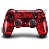 Playstation 4 (PS4) Controller/Gamepad Skin / Cover / Vinyl Wrap - Red Digital Camouflage Design (Pack of 2 Skins) by Cell Shell