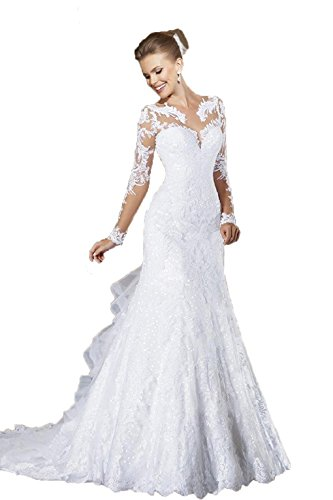 Angel Formal Dresses Women's V Neck Applique Mermaid Chapel Train Wedding Dresses (6, White) Chapel Train Wedding Dress
