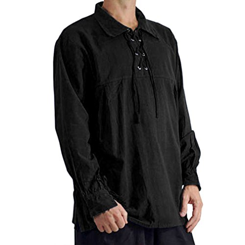 Noir Costume Manchette Tops 2 Les Hommes Médiévale Up Yying Col Pirate Asiatique S Couleurs Large xl Lace Stand Tvzxxqw